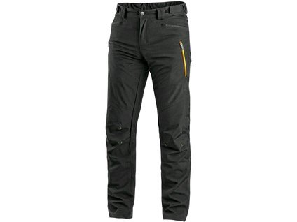 Kalhoty CXS AKRON, softshell, černé s HV žluto/oranžovými doplňky