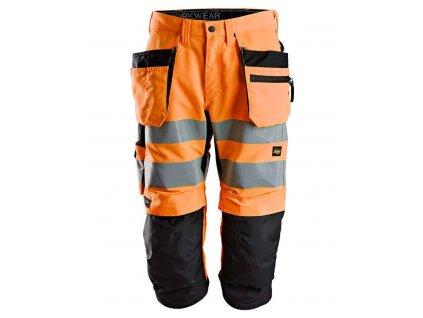 Kraťasy LiteWork reflexní 3/4 'Pirate' oranžové Snickers Workwear