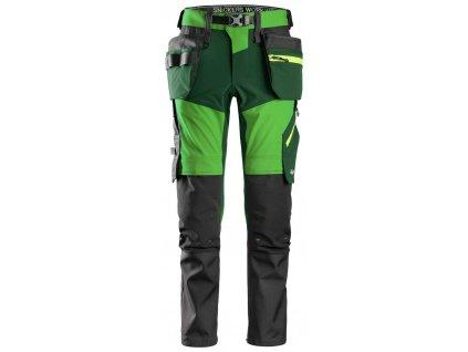 Kalhoty FlexiWork+ Stretch softshell s PK zelené Snickers Workwear