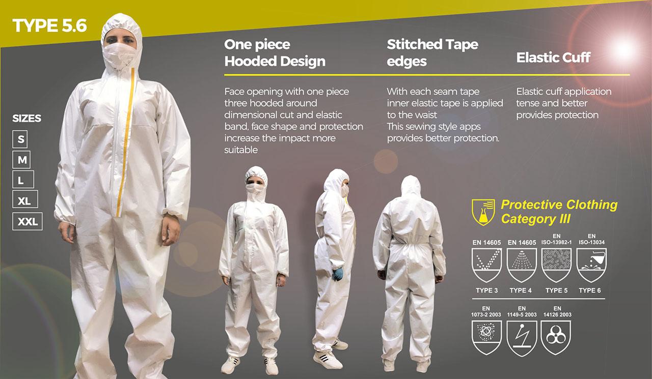 Jednorázový oblek, kombinéza, ES 6124 kat. III typ 5,6 bílý, vel L