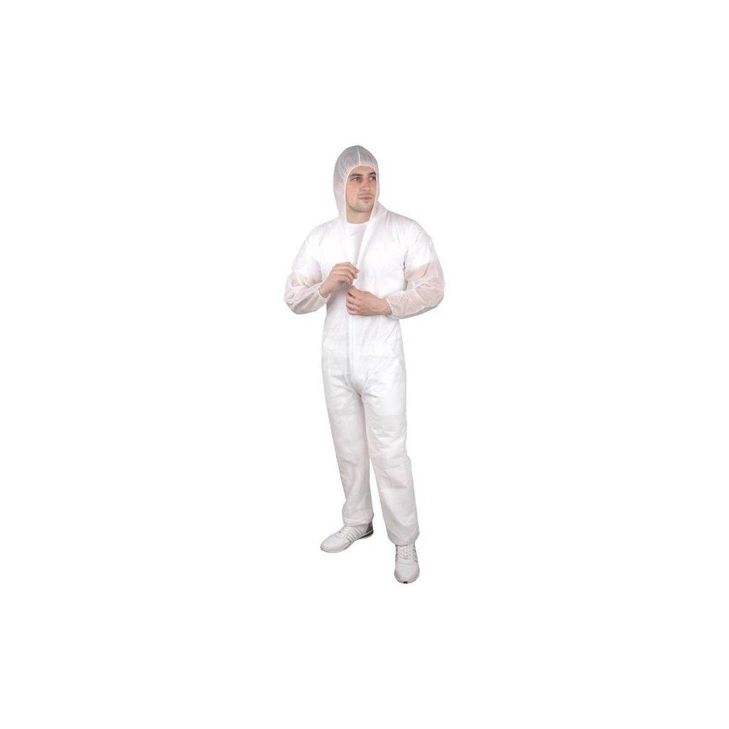 Jednorázová ochranná kombinéza s kapucí, bílá, vel. XL