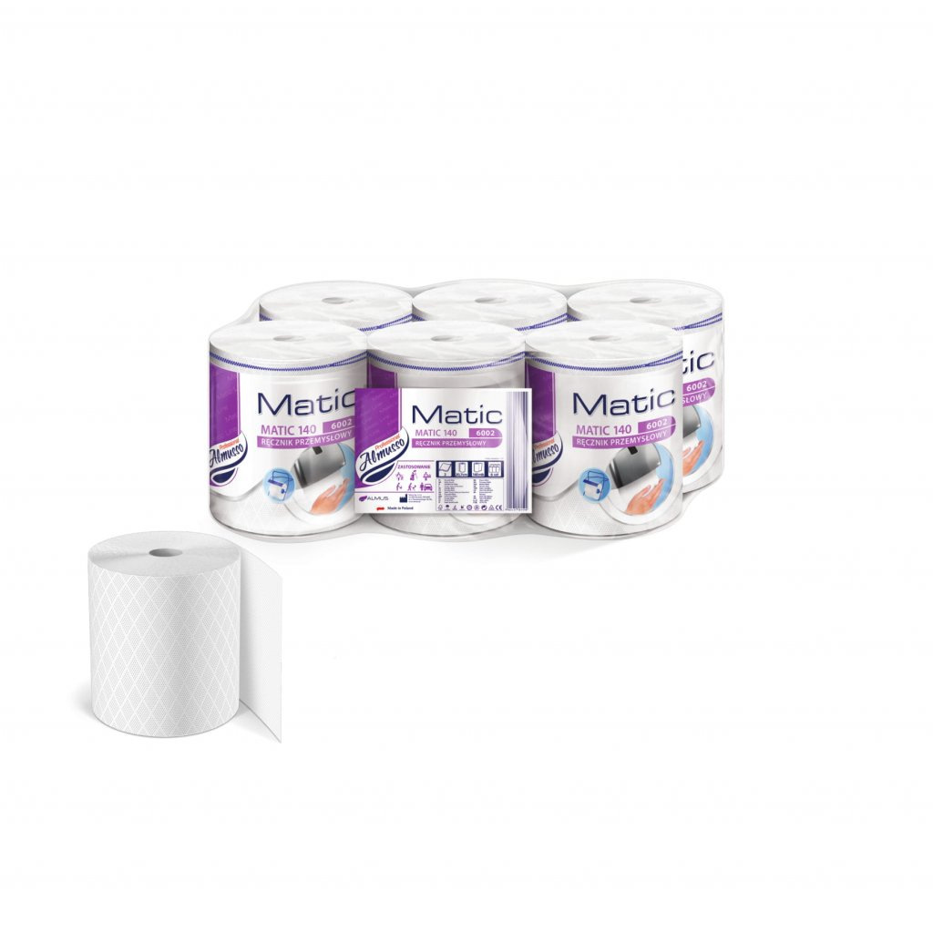 Almusso MATIC 140, papírové ručníky v roli, bílé, 2 vrstvé, 140m