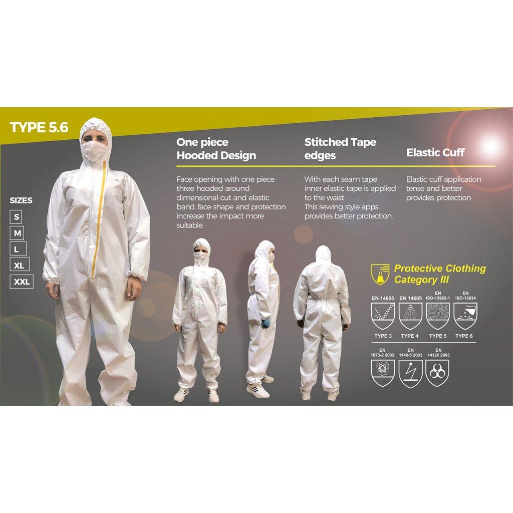 Jednorázový oblek, kombinéza, ES 6124 kat. III typ 5,6 bílý, vel XL