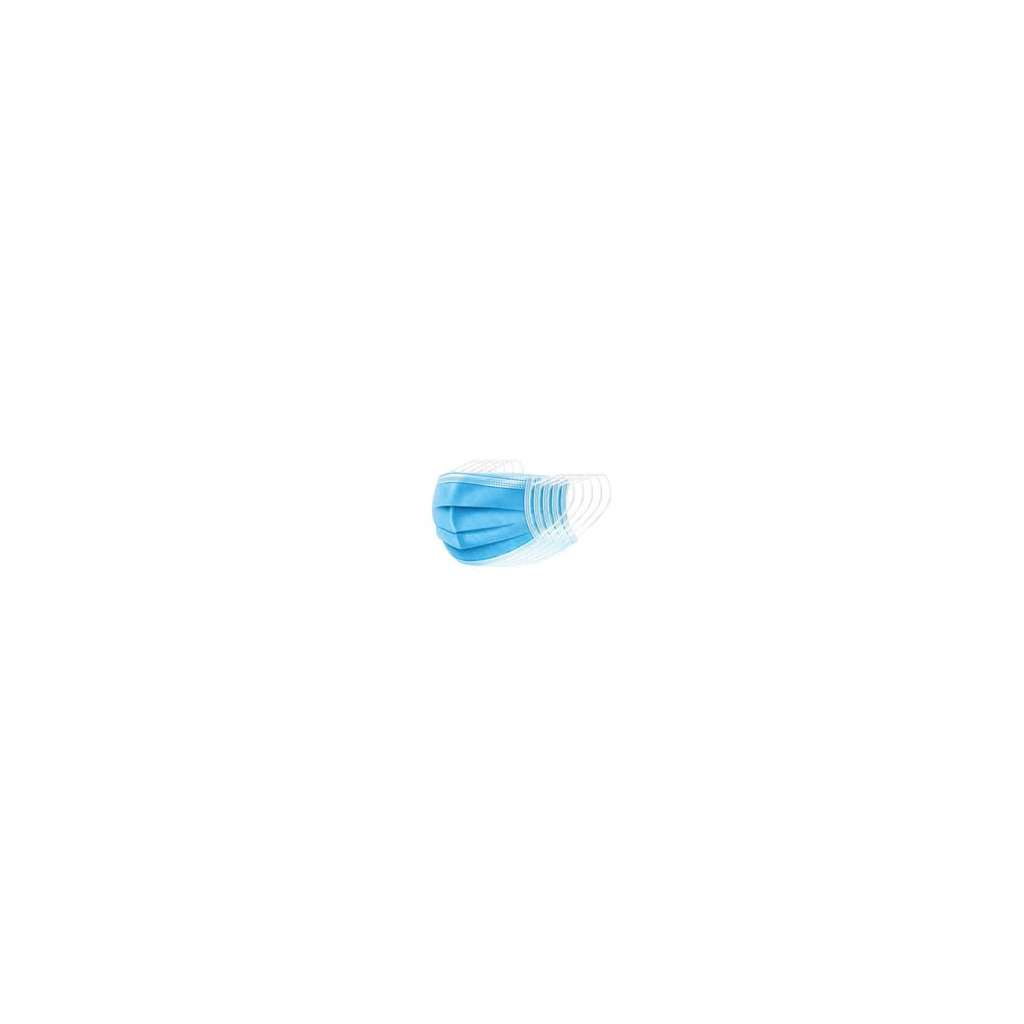 Jednorázová rouška / ústenka. 3- vrstvá, modrá, 50 ks