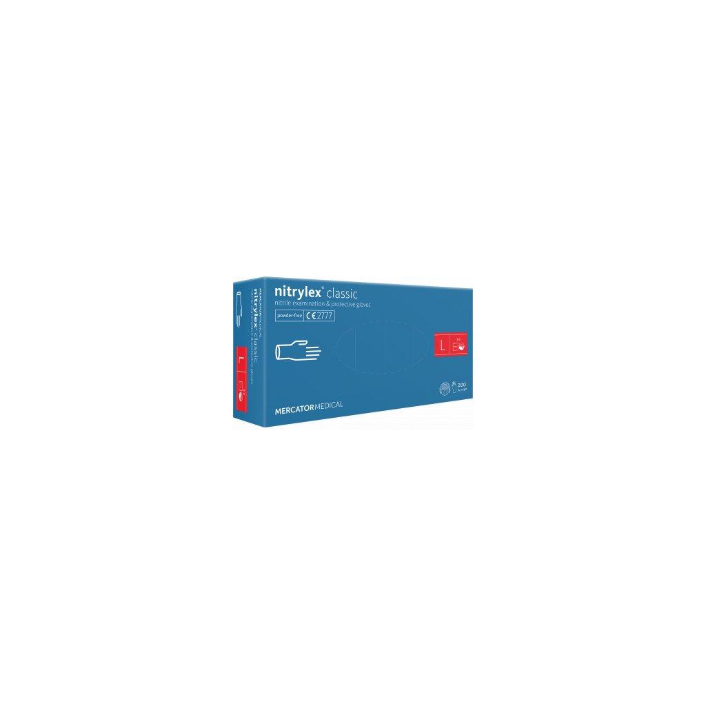 Mercator nitrylex® classic jednorázové rukavice nitrilové, modré, 100ks, vel.L