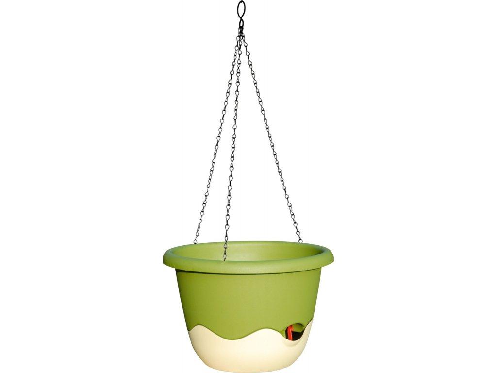 Závěsný květináč Mareta 30 - tm.slonová kost+sv.zelená