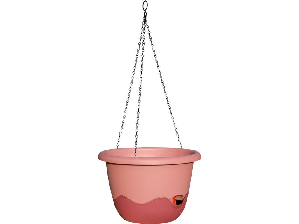 Květináč Mareta závěsný - růžová tmavá + vínová 30 cm