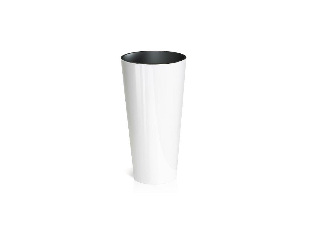 Květináč tubus slim shine 25 - bílá lesk