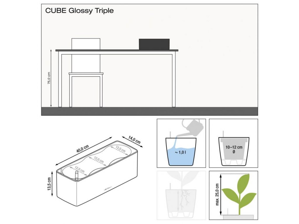 Lechuza Cube Glossy Triple - antracit