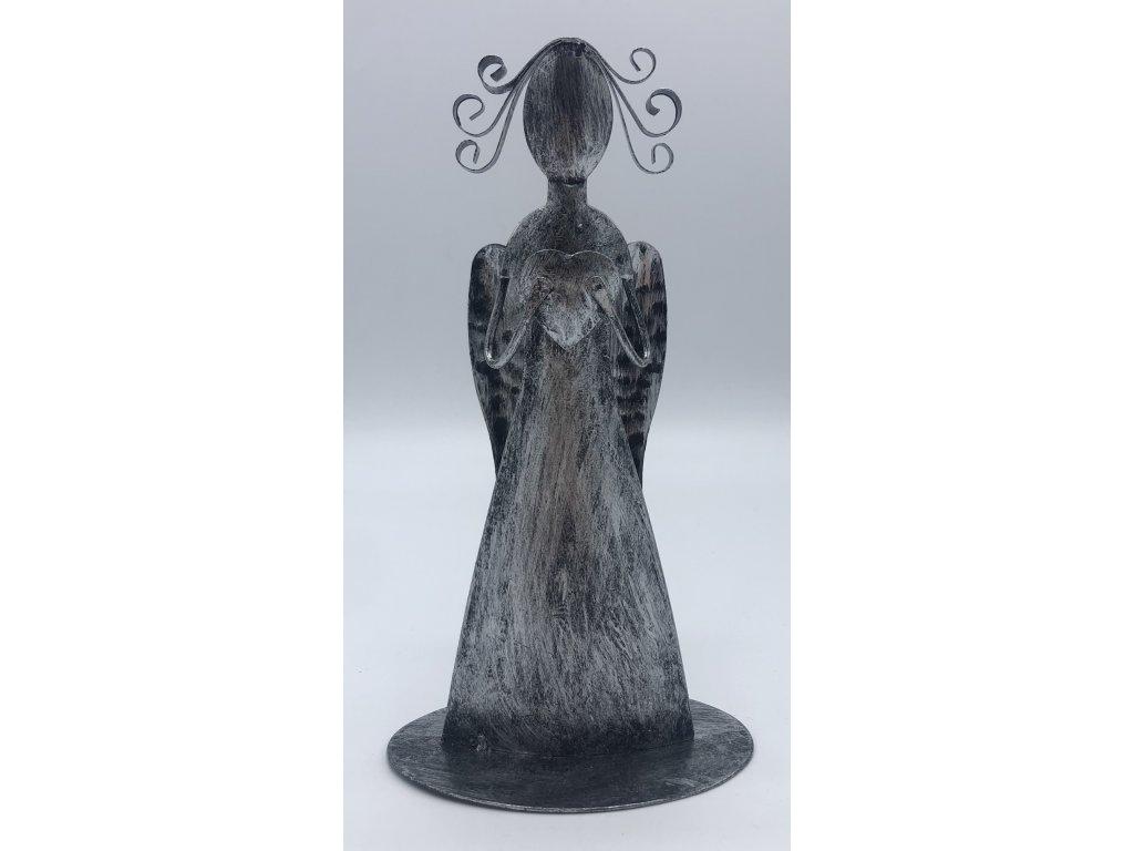 Plechový andělíček se srdíčkem ve vrchní části, stříbrný - 17,5 cm