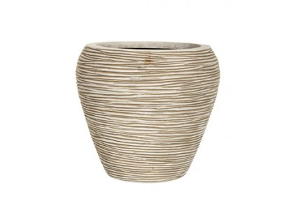 Capi Nature rib round vase 31x28 - ivory