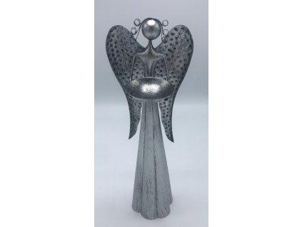 Plechový anděl s kalíškem na svíčku - 30 cm