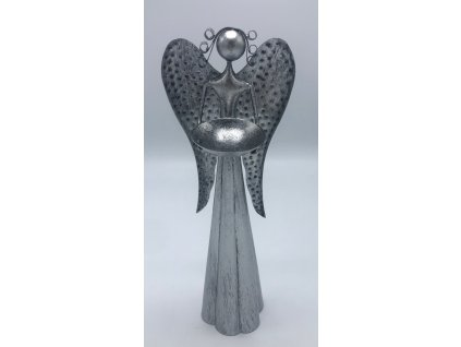 Plechový anděl s kalíškem na svíčku - 40 cm