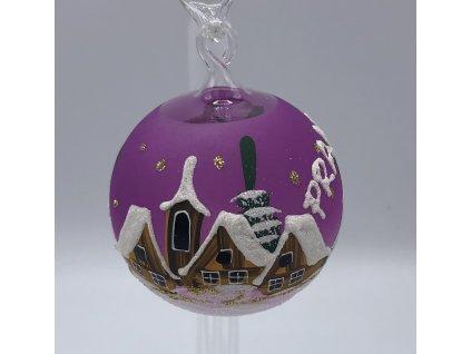 Vánoční skleněná malá ozdoba, fialová , 6 kusů