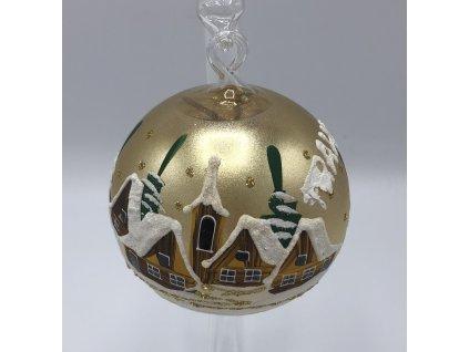 Vánoční skleněná malá ozdoba, zlatá, 6 kusů