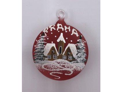 Vánoční skleněná malá ozdoba, červená, 1 ks