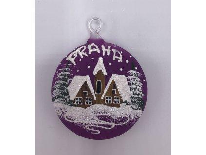 Vánoční skleněná malá ozdoba, fialová, 1 ks