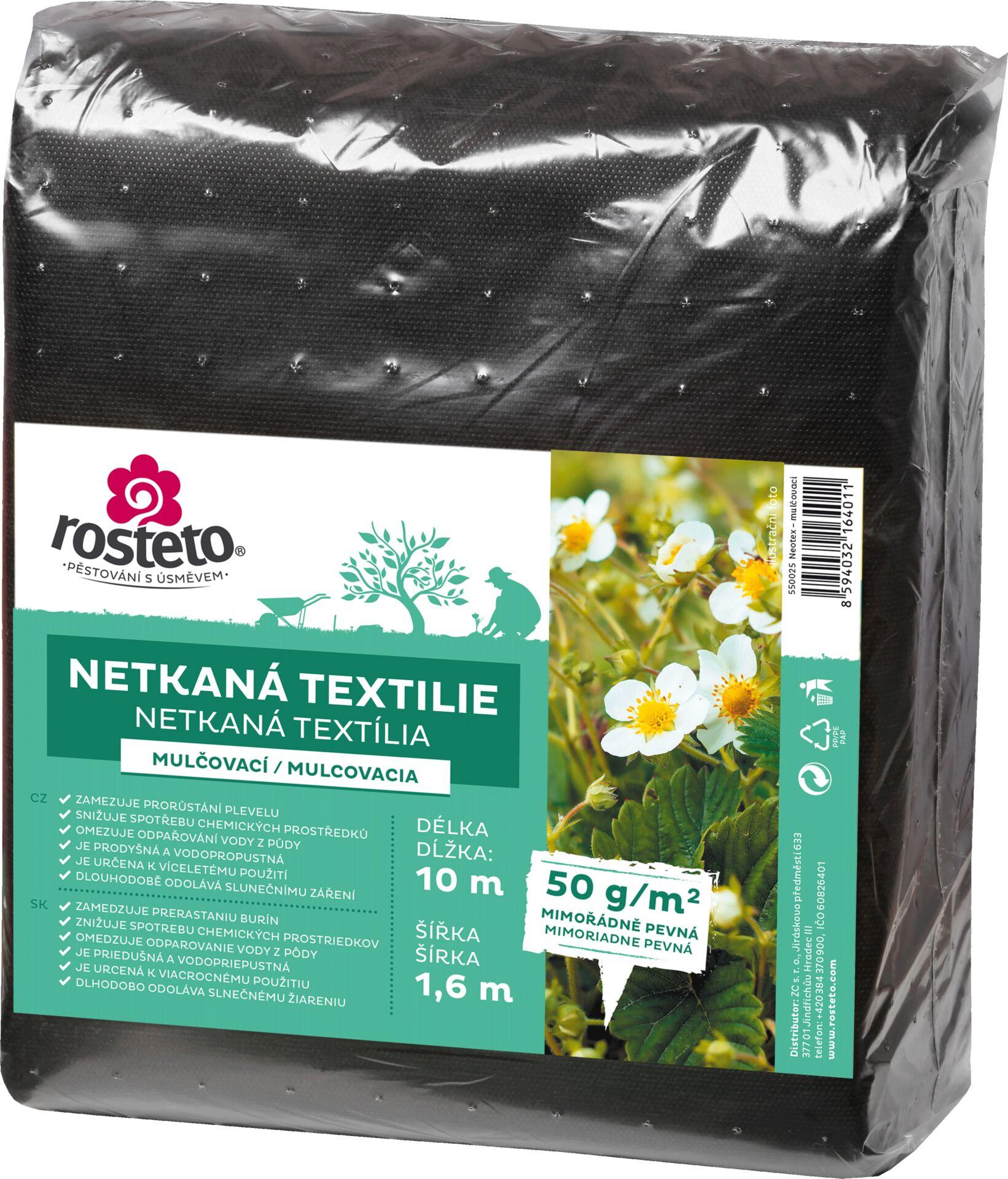Neotex / netkaná textilie Rosteto - černý 50g šíře 10 x 1,6 m