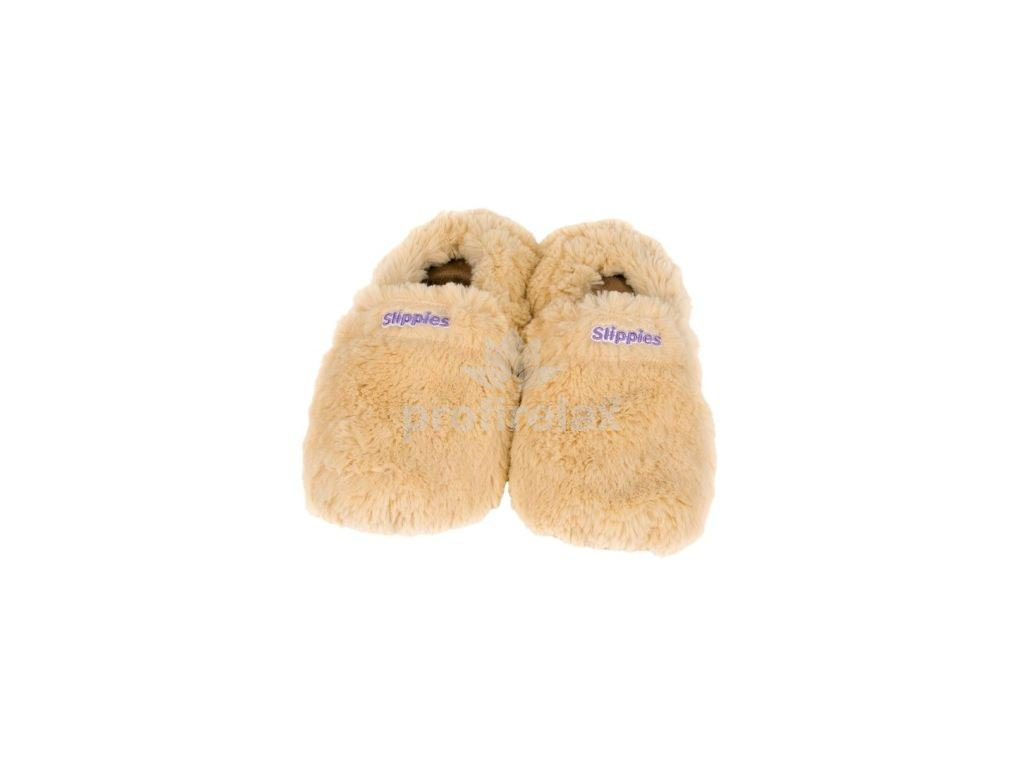 Hřejivé bačkory Slippies de Luxe béžové M