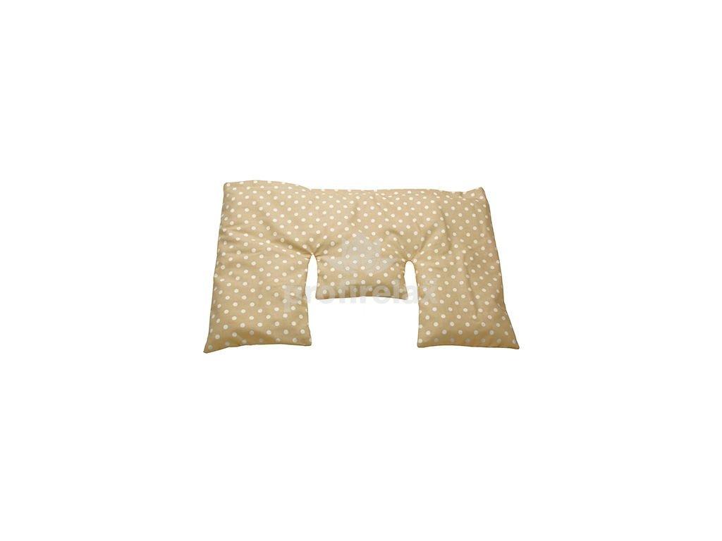 Krční nahřívací polštářek z třešňových pecek, béžový s puntíky, 40x25 cm