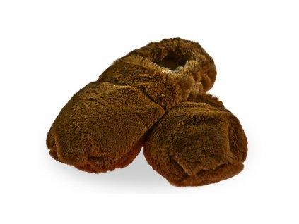 Hřejivé bačkory Slippies de Luxe hnědé M