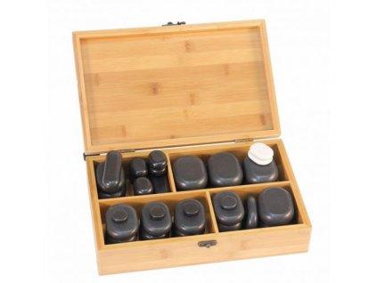 Hot Stones Lávové kameny - Sada v bambusové krabičce 40 ks