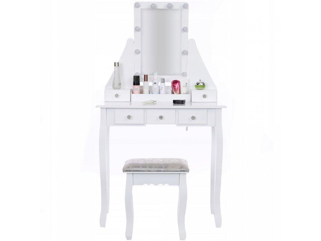 TOALETKA KOSMETYCZNA Z LUSTREM LED TABORET GRATIS Informacje dodatkowe podswietlenie stolek w zestawie