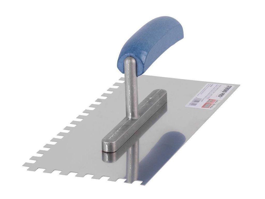 Hladítko Strend Pro Premium, 270x130 mm, e06x06 mm, nerezové, s drev. rúčkou