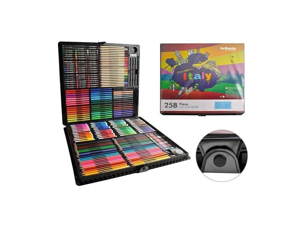 cze pl Malirsky box pro deti 258 ks Podepsat set incl Pastelky akvarely pastely fixy stetce gumy pera v praktickem pouzdre 8643 13694 1