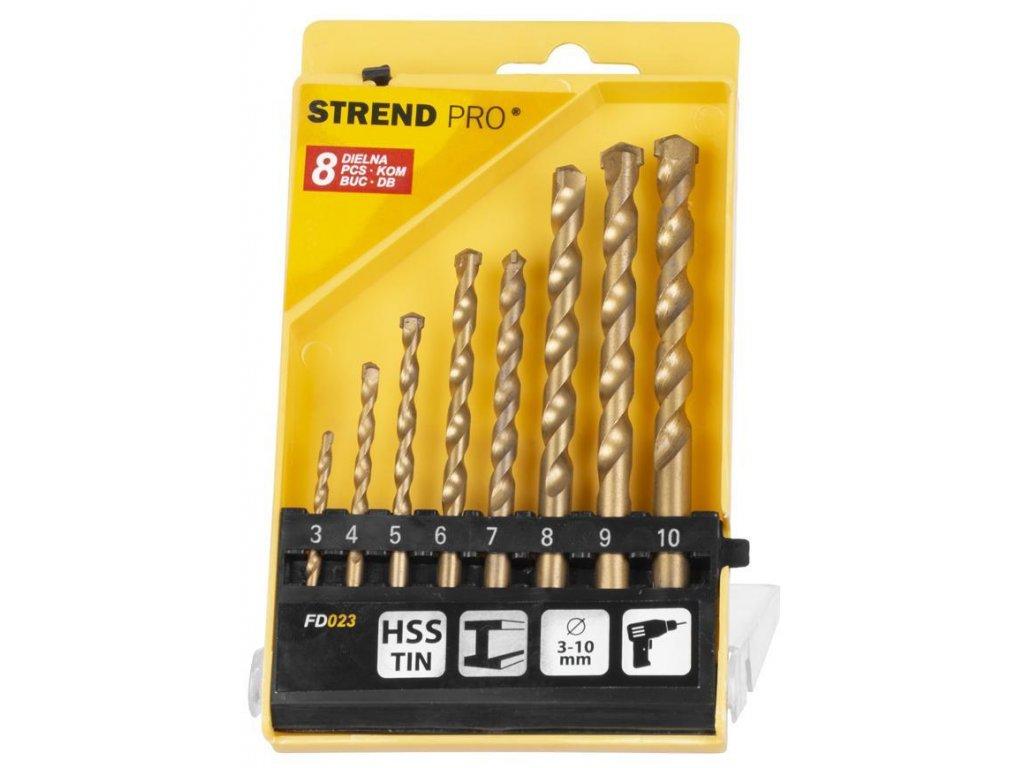 Sada vrtákov Strend Pro FD023, 8 dielna, 3-10 mm, TiN, do muriva