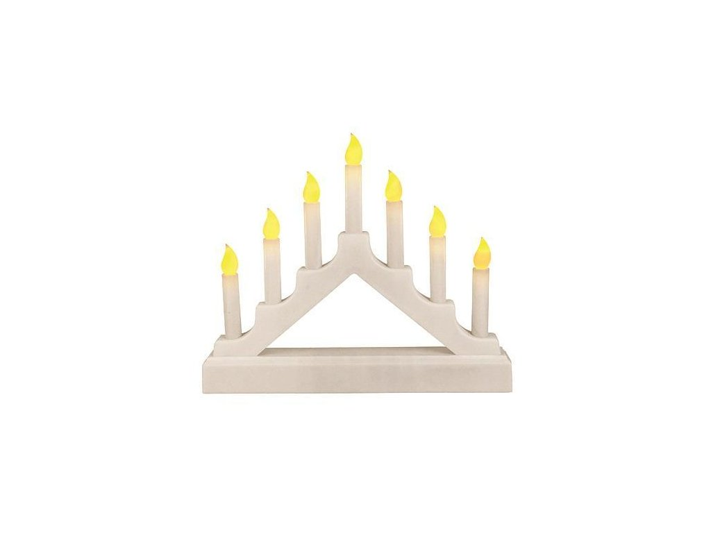 Svietnik MagicHome Vianoce, 7 LED, 2xD, časovač, plápolanie plameňa