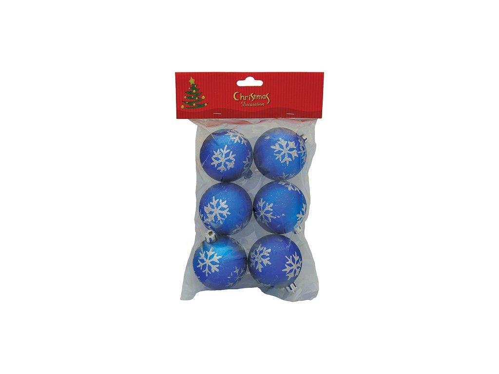 Gule MagicHome Vianoce, 6 ks, modré so striebornými vločkami, 6 cm