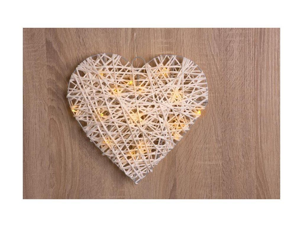 Dekorácia MagicHome Vianoce Rattan Metal Heart, 15 LED, 3xAA, IP20, interiér, 30x6 cm