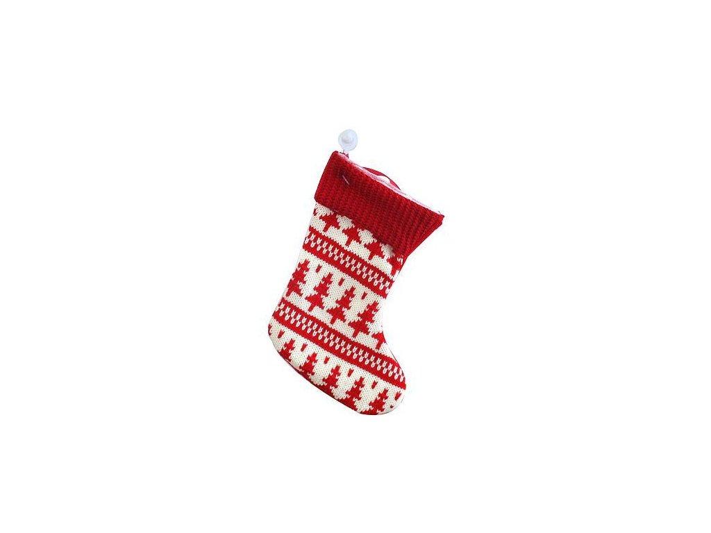 Ozdoba MagicHome Vianoce, ponožka, červená, vianočný motív, bal. 5 ks