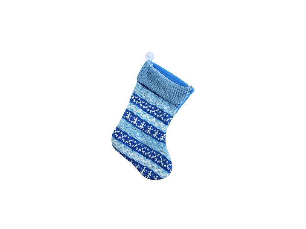 Ozdoba MagicHome Vianoce, ponožka, modrá, vianočný motív, bal. 5 ks