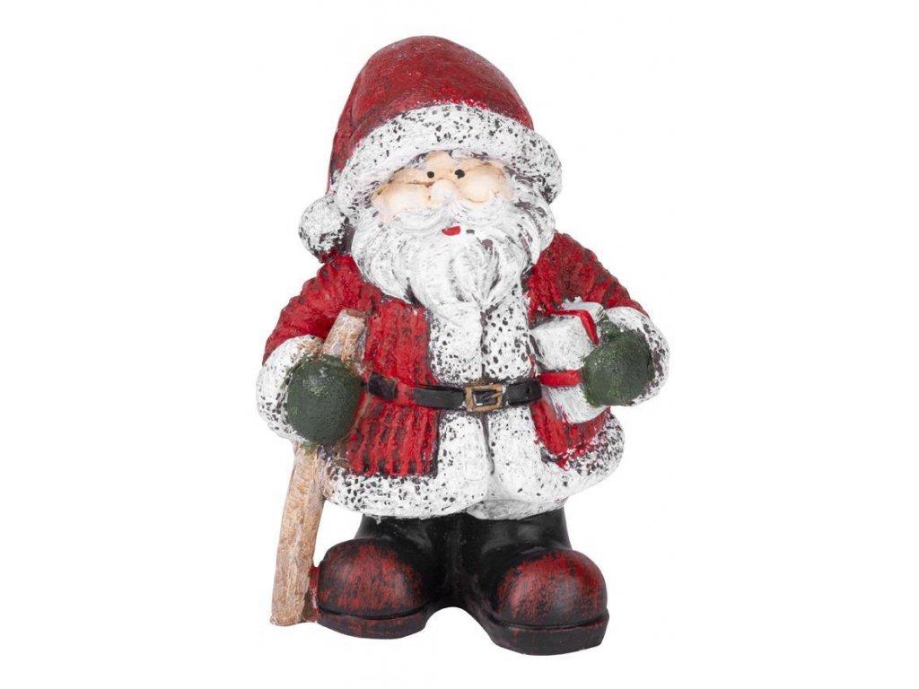 Postavička MagicHome Vianoce, Santa držiaci darčeky s palicou, polyresin, 15 cm