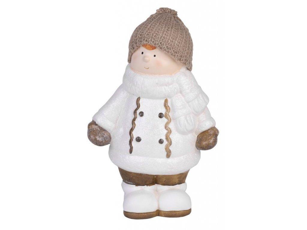 Postavička MagicHome Vianoce, Chlapček bacuľatý s čiapočkou, terakota, 29 cm
