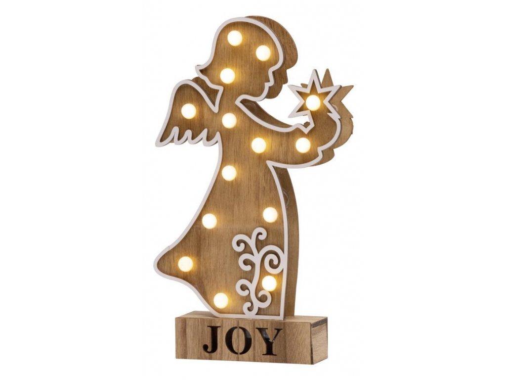Dekorácia MagicHome Vianoce Woodeco, Anjel, 14 LED, 19x33 cm