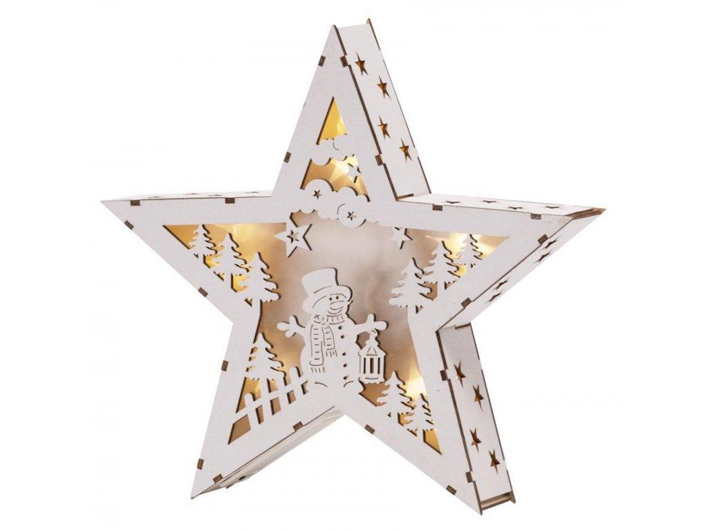 Dekorácia MagicHome Vianoce Woodeco, Hviezda s motívom, 8 LED, 26x5x24 cm