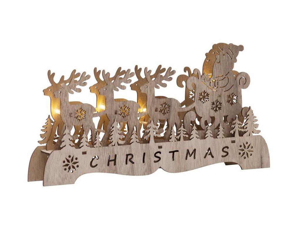 Dekorácia MagicHome Vianoce Woodeco, Santa na saniach, 4 LED, 29x15x4 cm