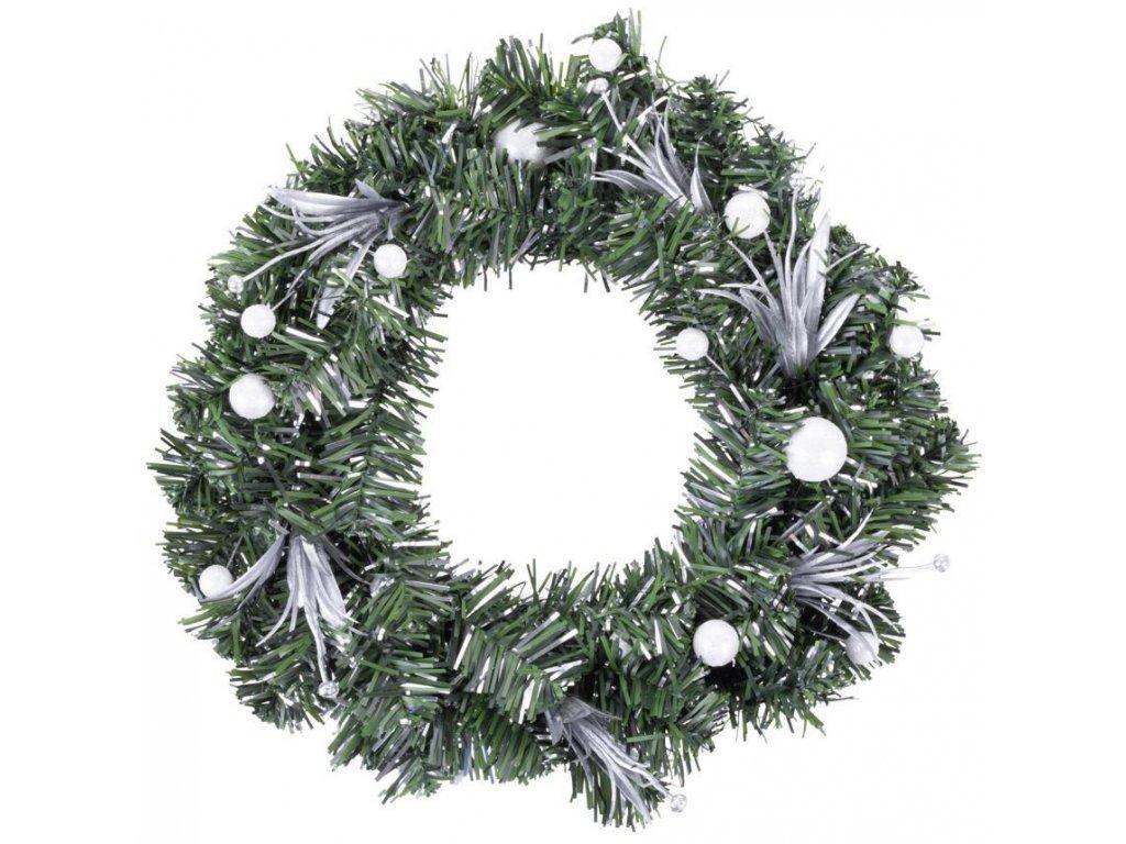 Veniec MagicHome Vianoce, prírodný, s bielou čečinou, 30 cm