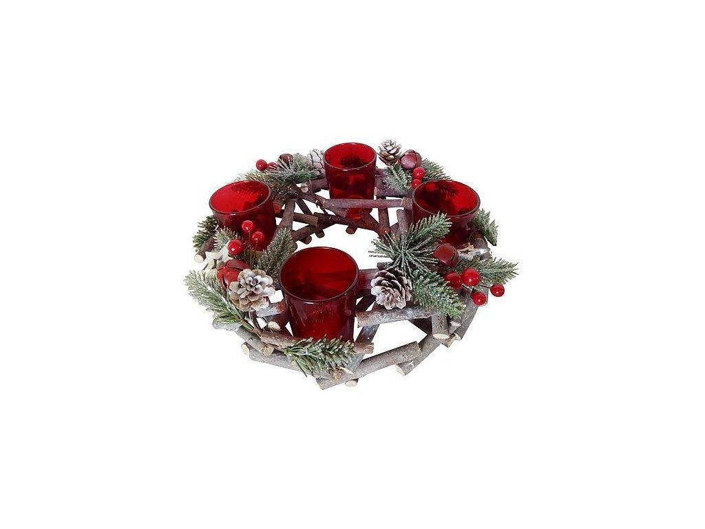 Veniec MagicHome Vianoce, prírodný, adventný, červený, 27x27x6 cm