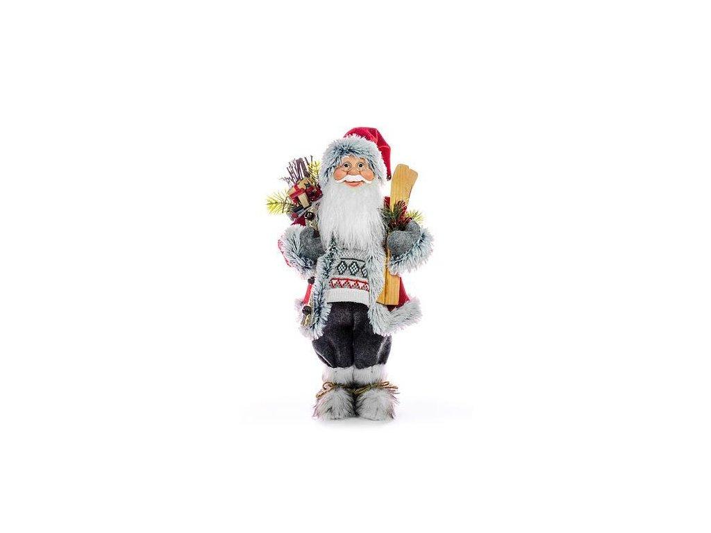 Dekorácia MagicHome Vianoce, Santa s lyžami a drevom, 80 cm