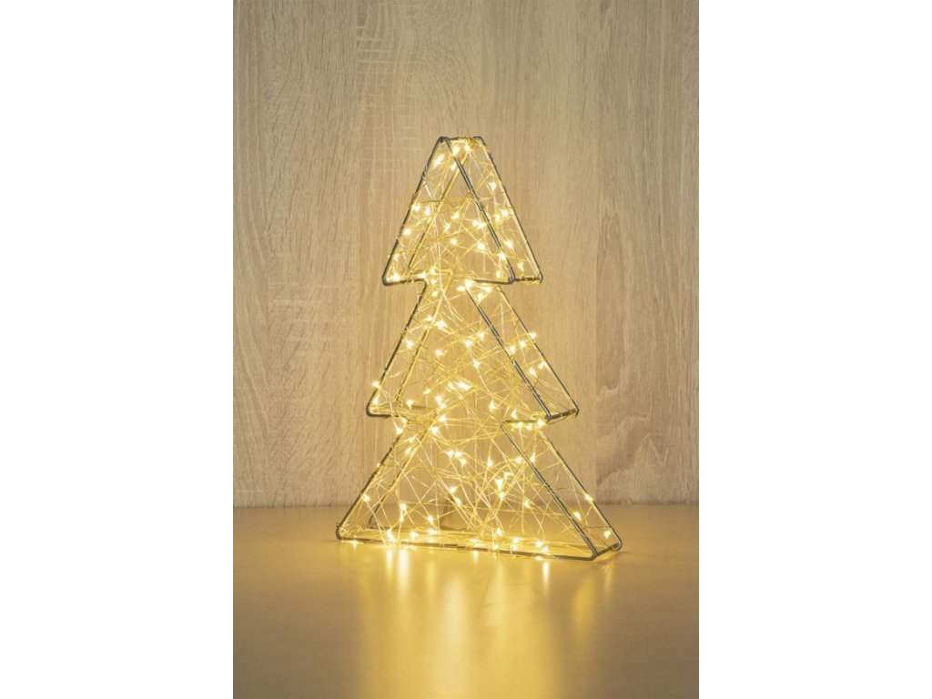 Dekorácia MagicHome Vianoce Metal tree, 60 LED teplá biela, 3xAA, IP20, interiér, 18x30 cm