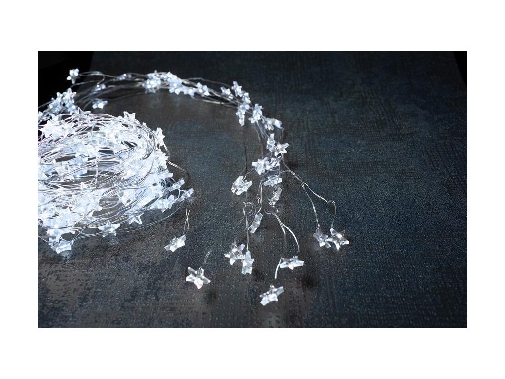 Reťaz MagicHome Vianoce Twisted Stars 180S, 180x micro star LED studená biela, jednoduché svietenie,
