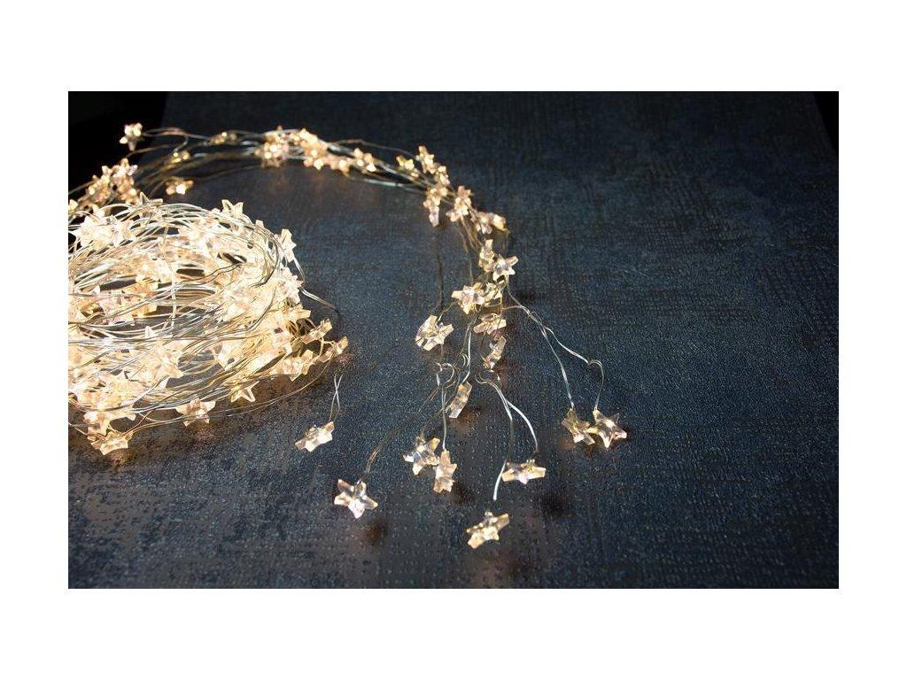Reťaz MagicHome Vianoce Twisted Stars, 180 micro star LED teplá biela, jednoduché svietenie, 230V, 5