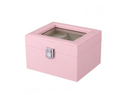 szkatulka kuferek etui organizer na bizuterie rozowa pd98r 1