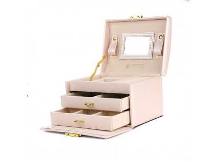 szkatulka na bizuterie kuferek w kolorze pudrowego rozu stenberg pd49pr