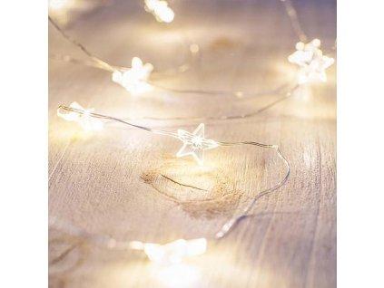 Reťaz MagicHome Vianoce Micro Star, 20 LED teplá biela, jednoduché svietenie, 3xAA, interiér, osvetl
