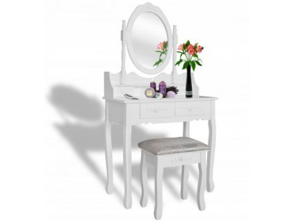 Toaletný stolík MONIKA WHITE + stolička